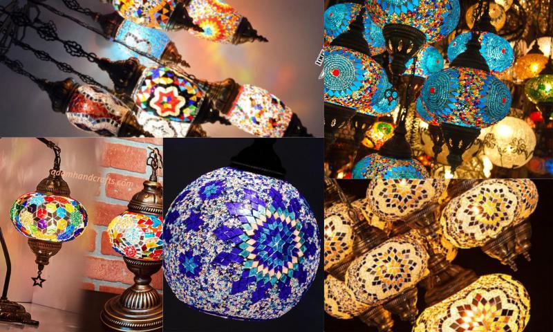 El Yapımı Mozaik Avize Lambalar